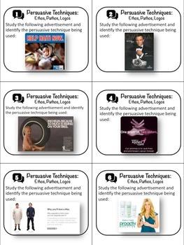 36 Persuasive Technique Task Cards - Identifying Pathos, Ethos and Logos