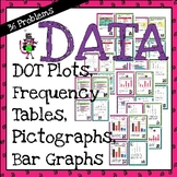 36 task cards for DATA: bar and pictographs, dot plots - with or w/o QR