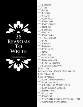 36 Reasons To Write 8.5 x 11 Classroom Poster