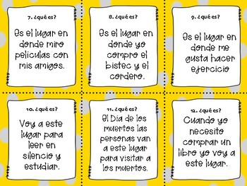 36 SPANISH AROUND THE TOWN/ LOS LUGARES DE LA CIUDAD TASK CARDS