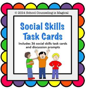36 Social Skills Picture Cards (with discussion questions)