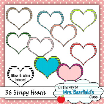 36 Striped Heart Frames