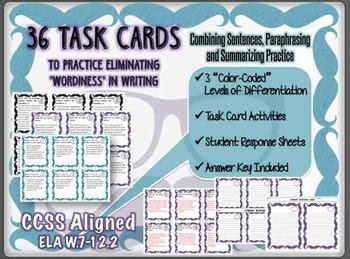 36 Task Cards - Combine Sentences, Paraphrase and Summarize- CCSS L.7-12.1-3