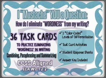 36 Task Cards - Combine Sentences, Paraphrase and Summariz