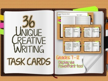 36 UNIQUE Creative Writing Task Cards + PowerPoint Slides