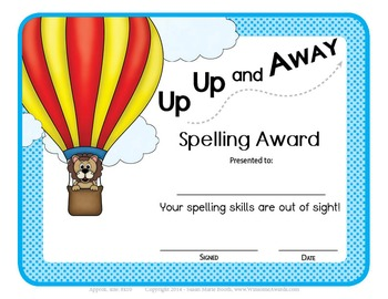 36 Unique Weekly Spelling Awards - SIZE 5X7 - Several opti