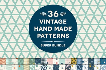 36 Vintage Hand Made Geometric Digital Patterns