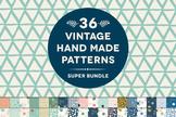 36 Vintage Hand Made Geometric Digital Patterns