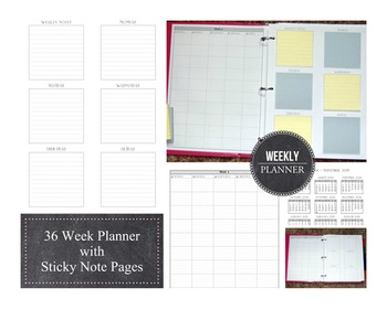 36 Week Planner with Sticky Note Pages