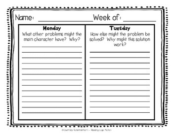 Daily Reading Logs for Fiction - 36 Weeks {Grades 4-5}