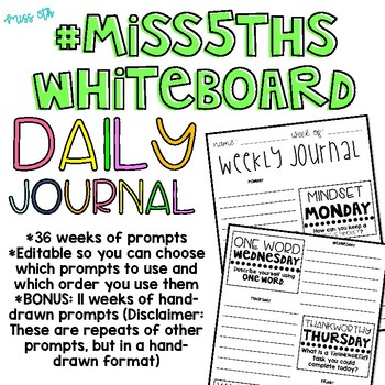 36 Weeks of  Daily Journals (Morning Message Prompts)