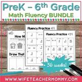36 Weeks of Math Fluency Practice for Pre-K-6th Grades PRI