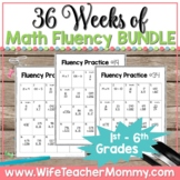 36 Weeks of Math Fluency Practice for 1st-6th Grades PRINT