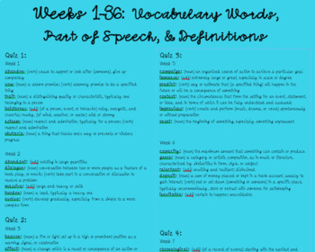 36 Weeks of Vocabulary Words and Quizzes