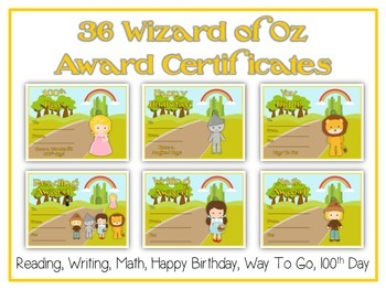36 Wizard of Oz Award Certificates - Colorful & Fun Reward