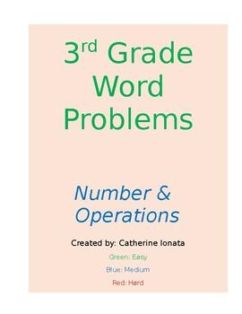 36 Word Problems for 3rd Grade -- NO PREP / ANSWER KEY