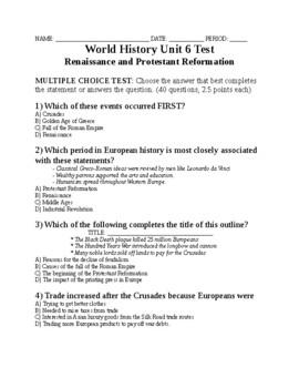 UNIT 6 LESSON 7. World History Unit 6 TEST