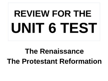 UNIT 6 LESSON 6. World History Unit 6 Test Review POWERPOINT