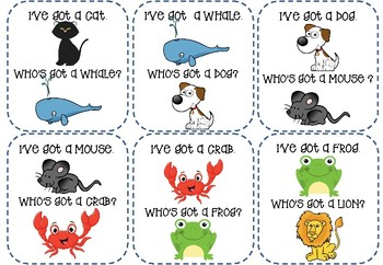 "36 animal cards / ""I've got... Who's got...?"" game"
