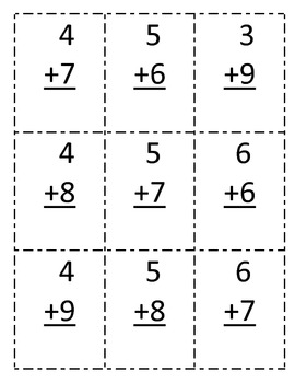 36 math addition flash cards