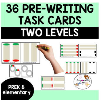 36 pre-writing line / shape task cards, differentiated prek,k, SPED fine motor