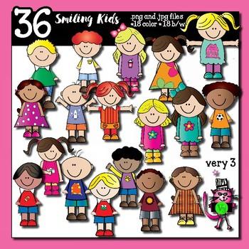36 smiling kids - clip art for teachers