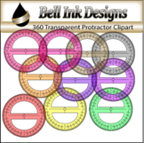 360 Degrees Transparent Protractor Clipart