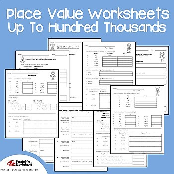 Place Value Through Hundred Thousands Worksheets