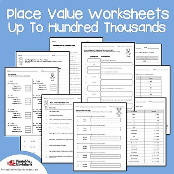 Place Value Through Hundred Thousand, Place Value to Hundred Thousand Worksheets