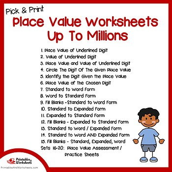 Place Value Up To Millions Worksheets, Practice Sheets
