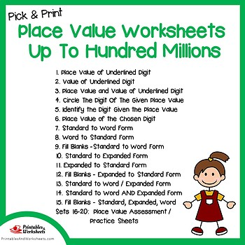 Place Value to Hundred Millions Worksheets for Assessment and Practice