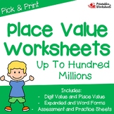 Place Value Through Hundred Millions Worksheets, 9 Digit Place Value Sheets