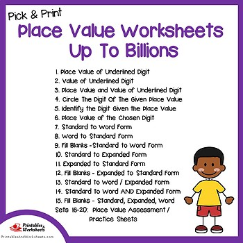 Place Value Through Billions, Place Value Pretest Worksheets, Practice Sheets