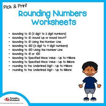 Rounding With Number Lines, 2, 3, 4 Digits, and Up to Millions / Billions