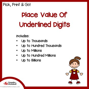 Place Value Of Underlined Digits Worksheets With Answer Keys