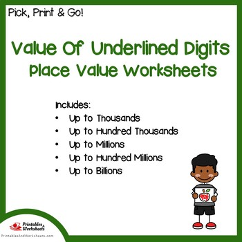 Value Of Underlined Digits Place Value Worksheets