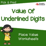 Value of a Digit Worksheets, 3rd Grade Place Value Review & Up