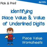 Identifying Value Of Digits, Whole Number Place Value Worksheets
