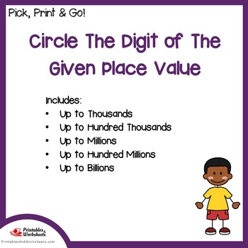 Circle The Digit Of The Place Value Place Value Worksheets