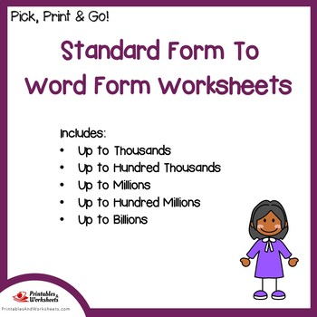 Standard Form To Word Form Place Value Worksheets