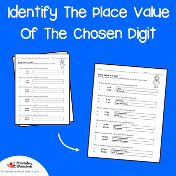 Identify The Place Value Of The Chosen Digit Place Value Worksheets