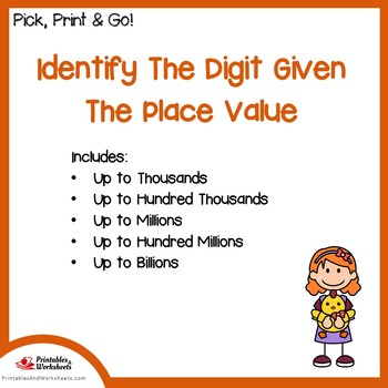 Identify the Digit of the Given Place Value Worksheets