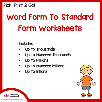 Word Form To Standard Form Place Value Worksheets