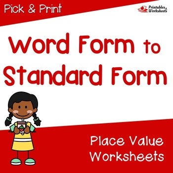 Matching Number and Number Name Worksheet, Place Value Worksheet 3rd Grade Up