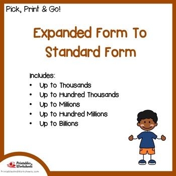 Expanded Form To Standard Form Place Value Worksheets
