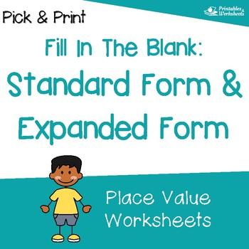 expanded form versus standard form  Standard and Expanded Form Worksheets, Expanded Notation Worksheets