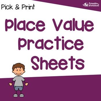 Place Value Practice Sheets, Place Value Sub Plans