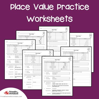 Place Value Sub Plans, Place Value Matching Worksheet For Practice