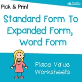 Standard Form To Word Form, Expanded Form Worksheets, Place Value Preassessment