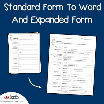 Standard Form To Word And Expanded Form Place Value Worksheets